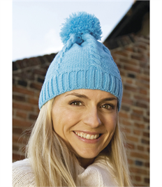 Result Winter Essentials Cable Knit Pom Pom Beanie