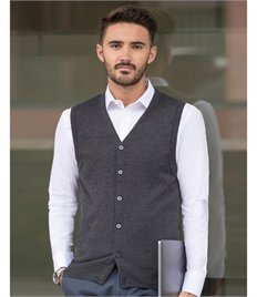 Russell Collection Men's V-Neck Sleeveless Knitted Cardigan